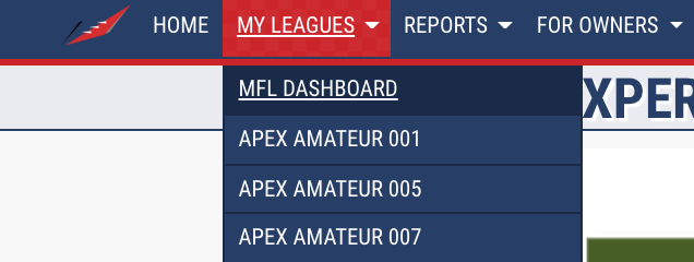 "The ""My Leagues"" tab on MyFantasyLeague can help you navigate all of your fantasy football money leagues with Apex."